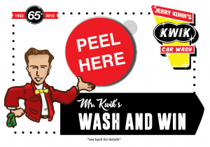 Mr. Kwik's Wash and Win Peel off